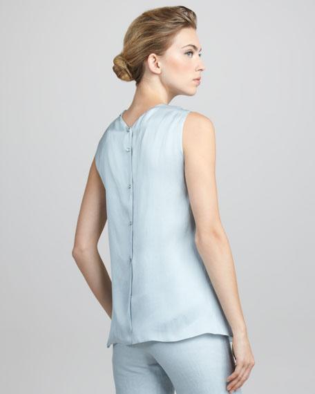 Sleeveless Drape-Front Tunic