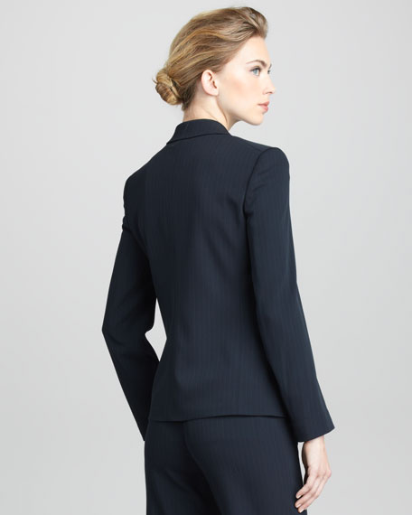 Pinstriped One-Button Jacket