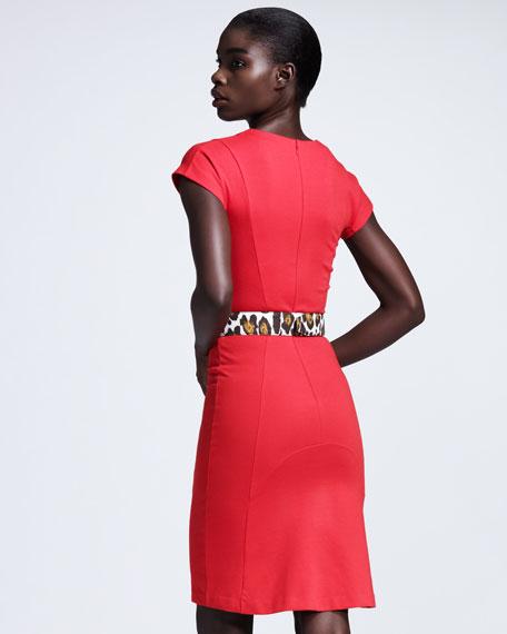 Cap-Sleeve Jersey Sheath Dress