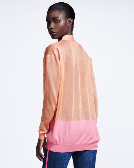 Transparent Colorblock Cardigan