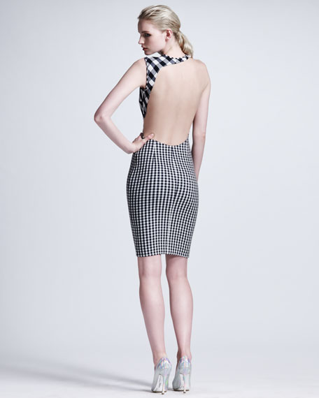 Contoured Mesh-Inset Gingham Sheath Dress