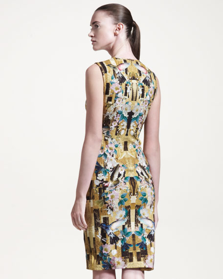 Sleeveless Printed Jersey Sheath