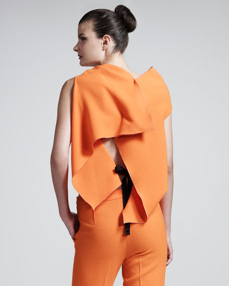 Eugene Stretch-Cotton Top, Russet Orange