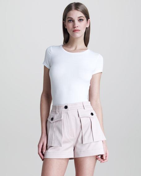 Sateen Flap-Pocket Shorts