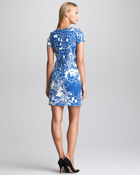 Printed Cloque Shift Dress