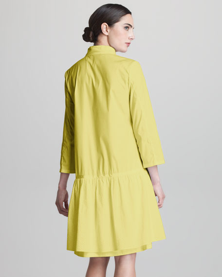 Dropped-Waist Poplin Dress
