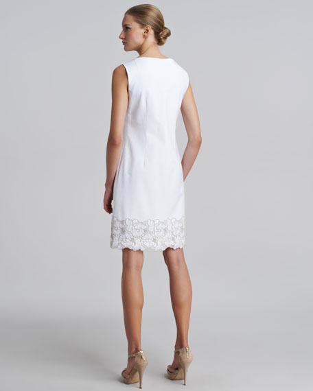 Lace-Hem Sateen Dress