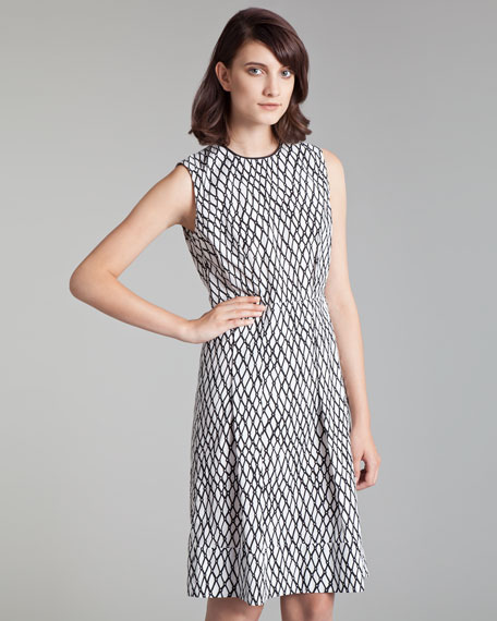 Lattice-Print Poplin Dress