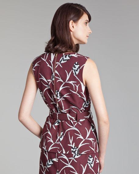 Floral-Print Faille Top