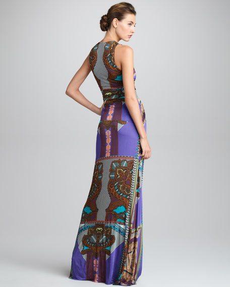 Ruched-Front Printed Maxi Dress