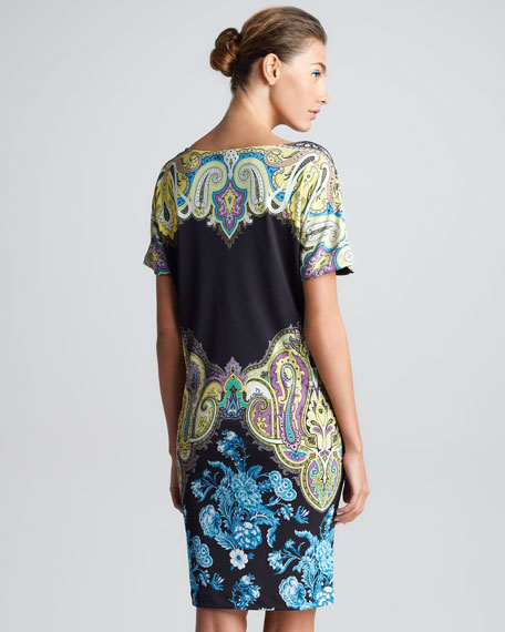Drape-Neck Short Sleeve Dress, Black/Multi
