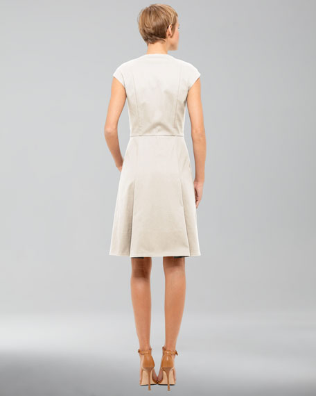 Cotton-Stretch Dress, Cream