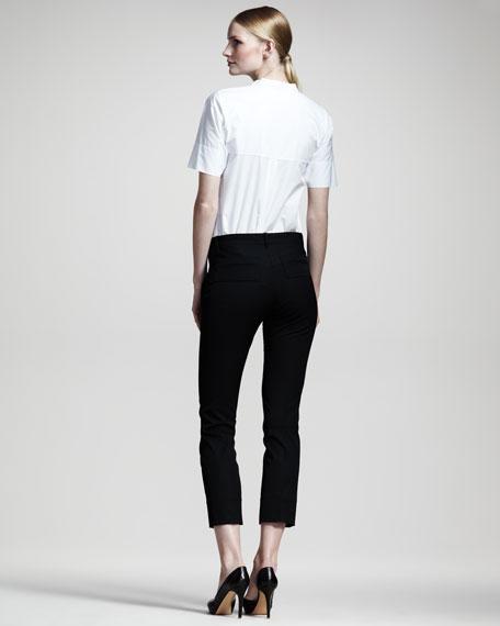 Niccolo Straight-Leg Cropped Pants, Black