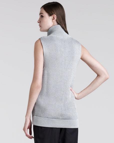 Metallic-Rib Zip Vest
