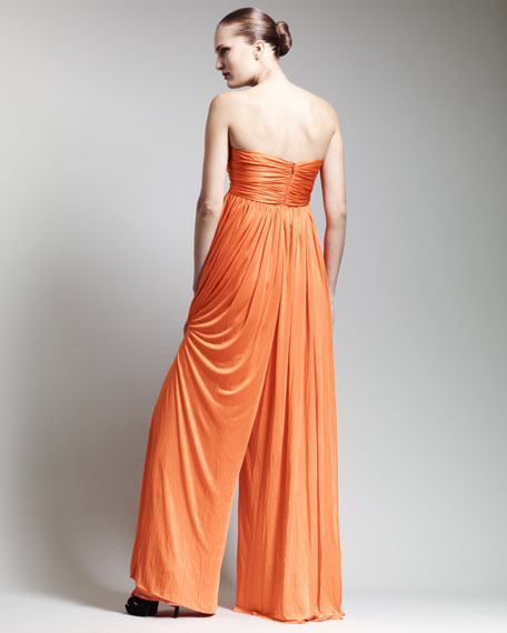 Strapless Empire-Waist Jumpsuit, Orange