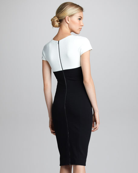 Contrast-Yoke Cap-Sleeve Dress