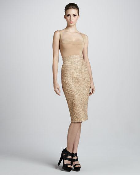 Hand-Woven Tweed Midi Skirt