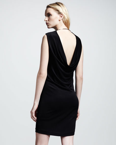 Drape-Back Pique Dress, Black
