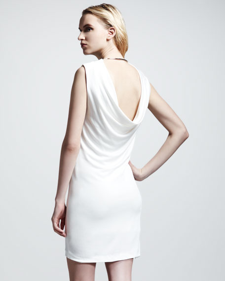Drape-Back Pique Dress, Ivory