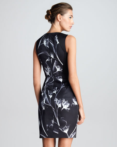 X-Ray Floral-Print Sheath Dress, Black/White