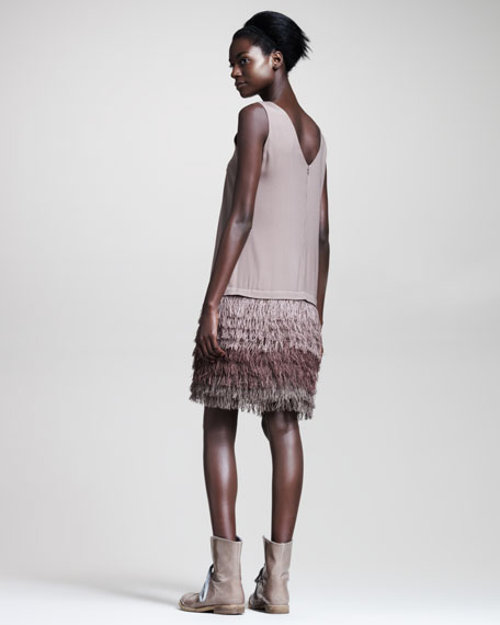 Fringe-Skirt Crepe Dress