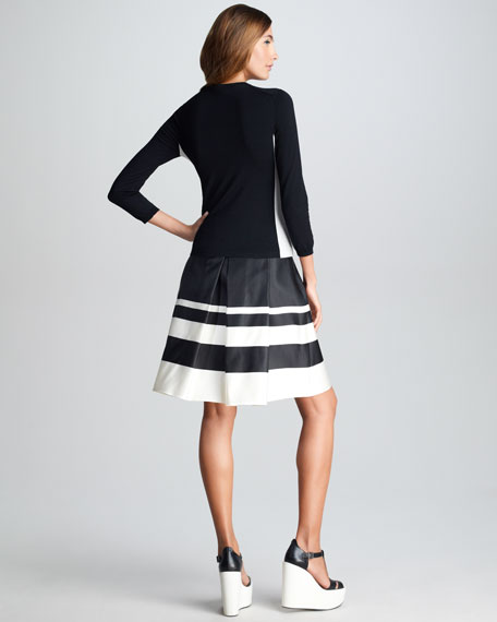 Striped Border Silk Skirt