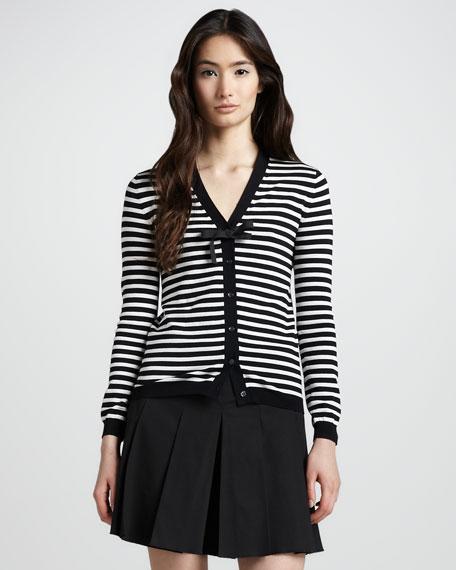 Striped Cardigan, Black/White
