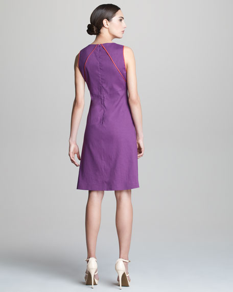 Sleeveless Dress with Pleated Front