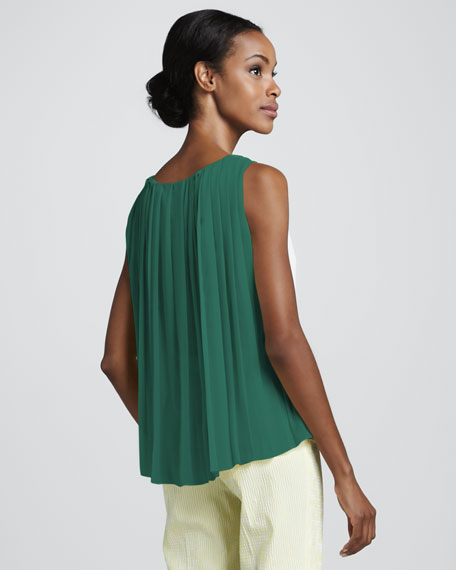 Jersey-Front Sleeveless Top