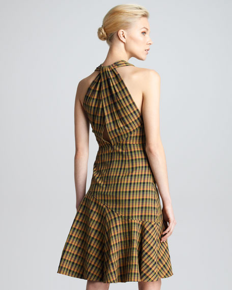 Twist-Back Plaid Dress