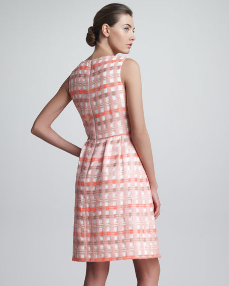 Split-Neck Check Jacquard Dress, Bright Coral