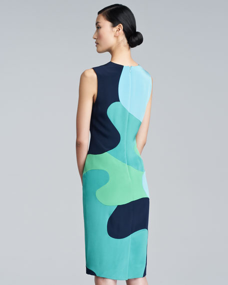 Colorblock-Camouflage Sheath Dress