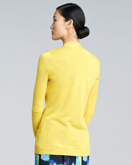 Silk-Trim Cardigan, Sunflower