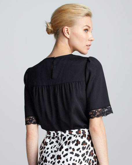 Lace-Trim Short-Sleeve Top