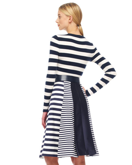 Mix-Stripe Shantung Skirt