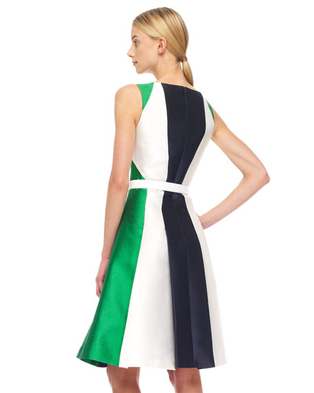 Colorblock Shantung Dress