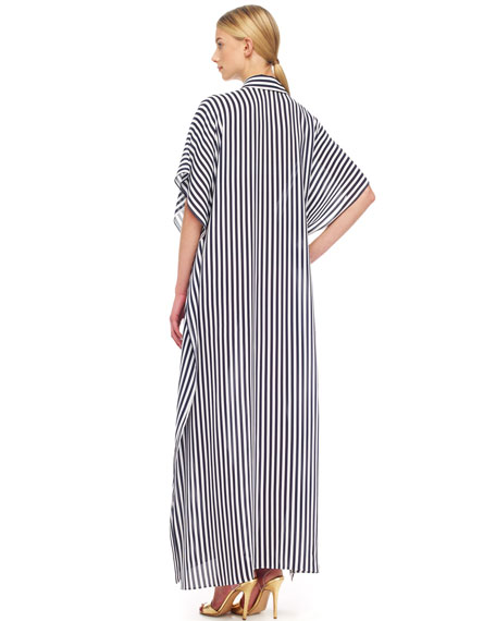 Striped Georgette Maxi Shirt-Waist Caftan