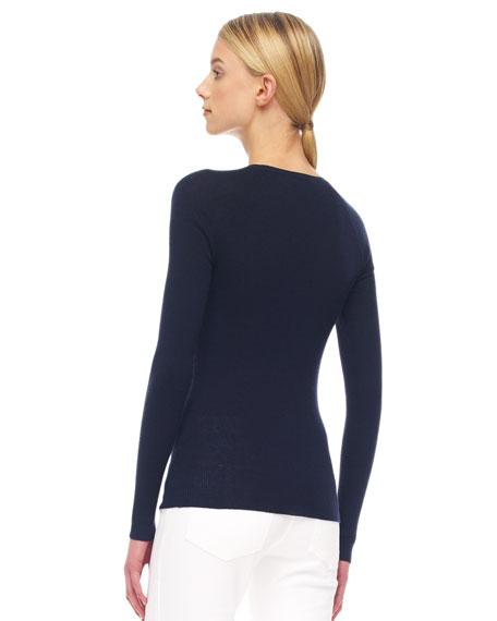 Button-Shoulder Cashmere Top