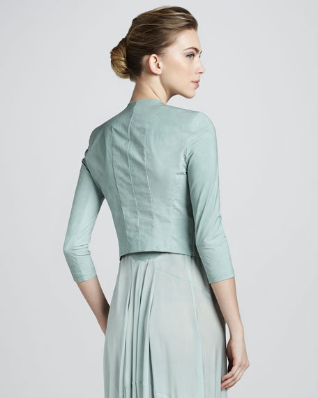 Folded Crepe Jacket, Jade