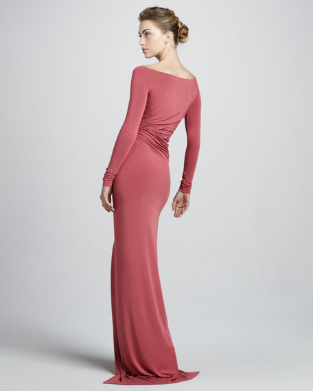 Off-the-Shoulder Draped Jersey Gown, Sunset Rose