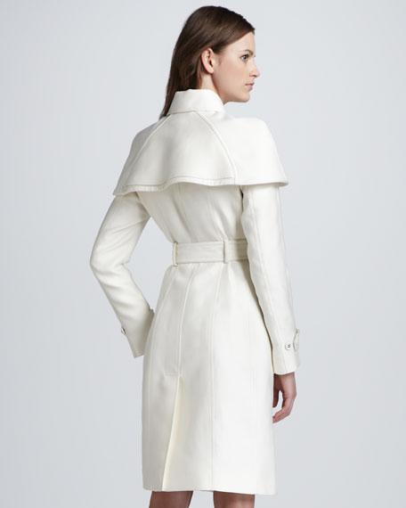 Caped Duchess Satin Trenchcoat