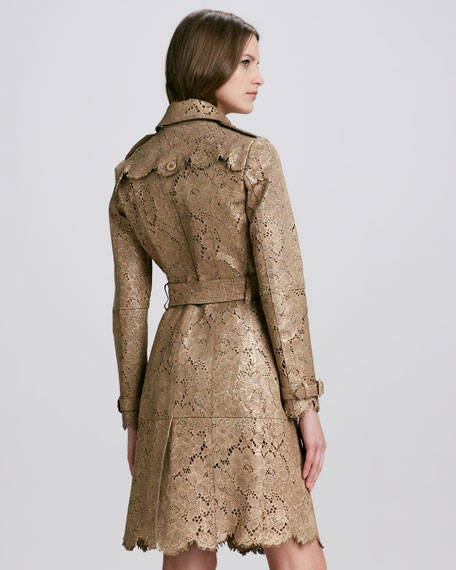 Laser-Cut Lace Leather Trench Coat, Golden Nude