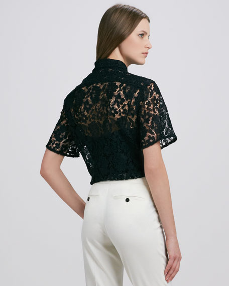 Short-Sleeve Lace Blouse, Black