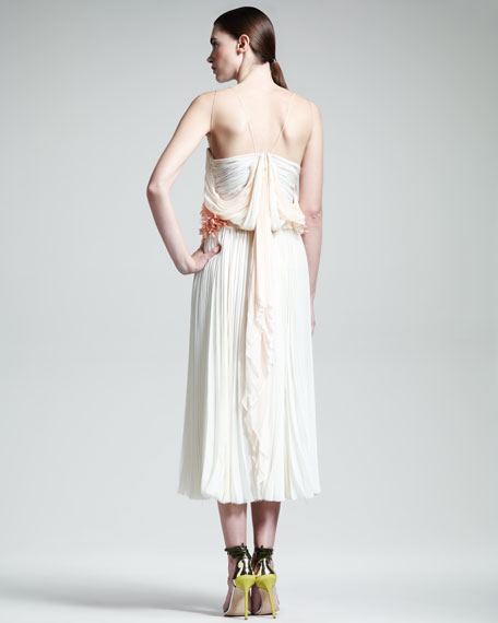 Floral-Waist Pleated Silk Dress, Cream