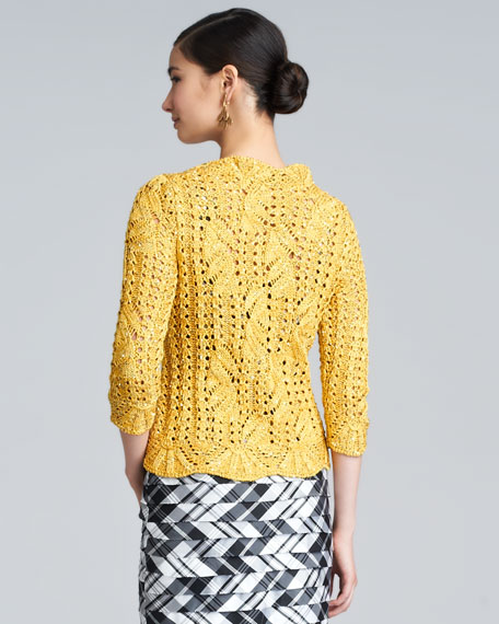 Boat-Neck Cable-Knit Sweater, Amber