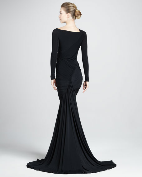 Long-Sleeve Mermaid Jersey Gown, Black