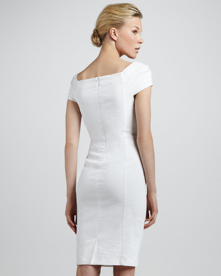 Cap-Sleeve Linen-Blend Dress, Zinc