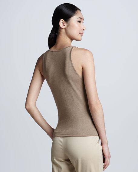 Cashmere-Silk Cut-In-Shoulder Tank, Burlap