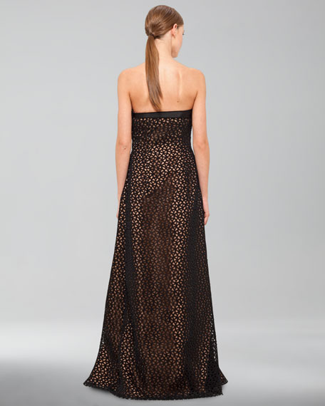 Trapezoid Laser-Cut Tulle Apron Gown