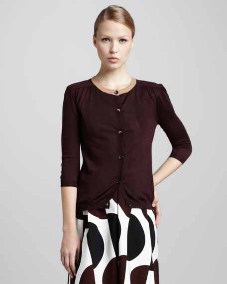 Three-Quarter-Sleeve Cardigan, Wine